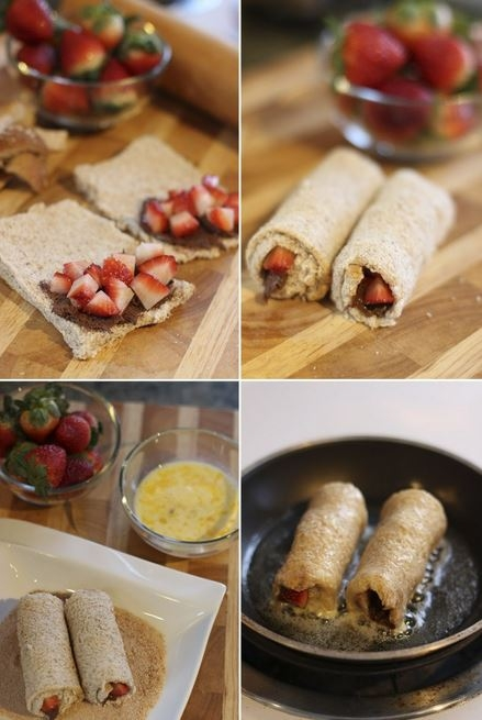 Rolinhos de Rabanada com Recheio de Nutella e Morango
