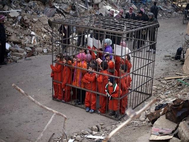 crianças sírias na gaiola