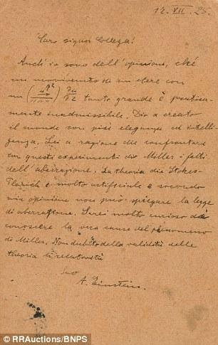 A carta (escrita em italiano) estava endereçada a um engenheiro elétrico e falava sobre Deus e teorias científicas
