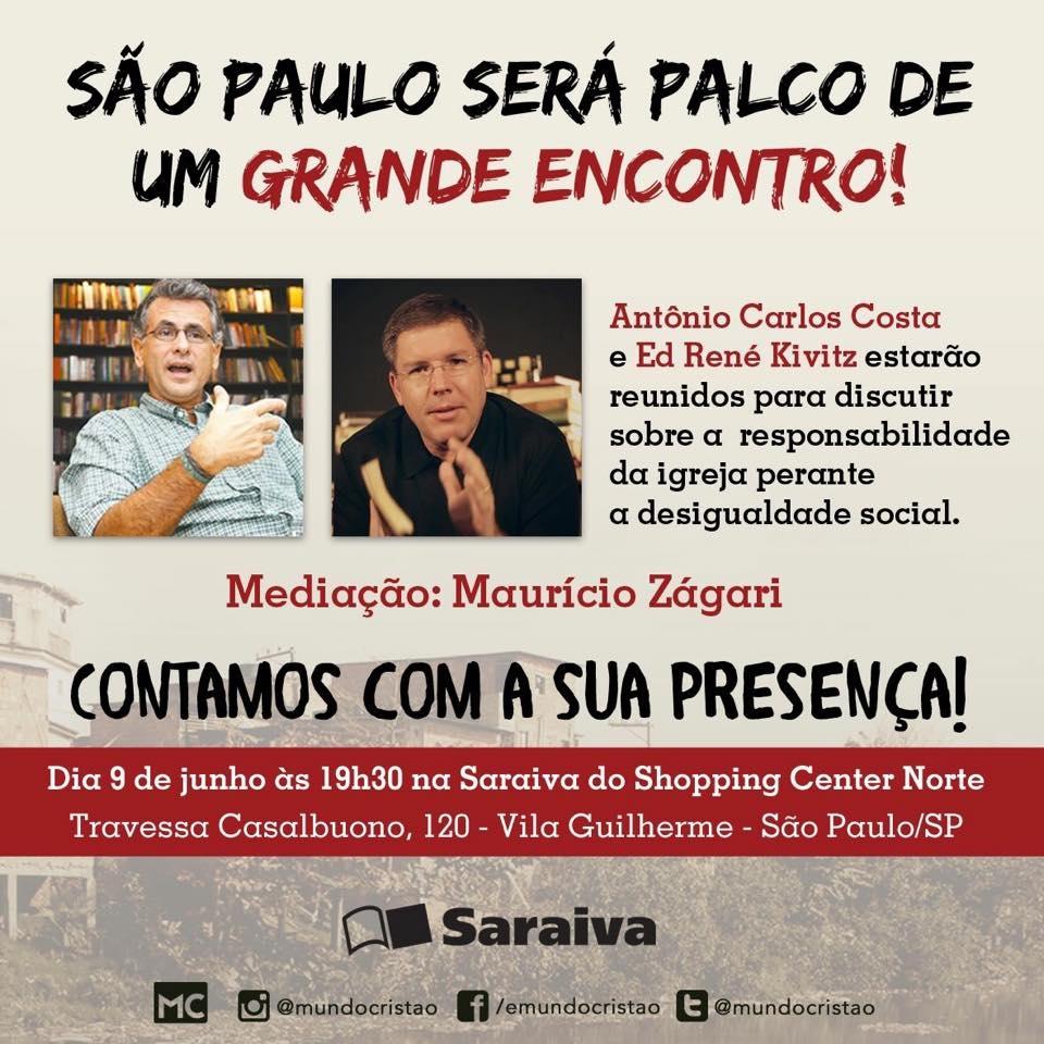 Em SP: Antônio C. Costa lança o livro 'Convulsão Protestante' com a participação de Ed René Kivitz