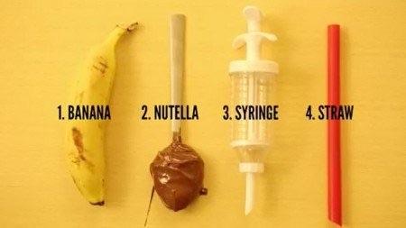 Banana e creme de avelã