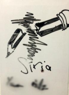 Desenho de sírio refugiado